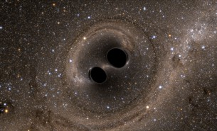 A Simulation of Two Black Holes Merging